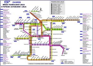 ザグレブ市内を走るトラムの地図