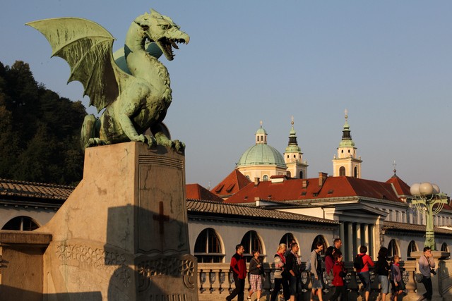 リュブリャナのシンボル「龍」。町の至る所で龍の姿を見かけます